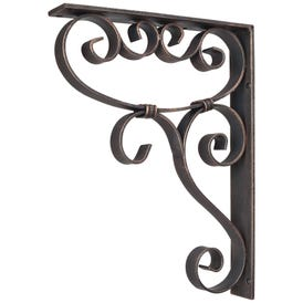 "1-7/8"" W x 10"" D x 13-1/2"" H Dark Brushed Antique Copper Metal Simple Scrolled Corbel"